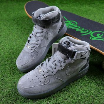 Reigning Champ Nike Air Force 1 Mid Grey Suede Women Men Skateboarding Causel Sports Sneaker Shoes