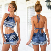 Fashion two pieces women's sexy beach backless print dress = 5657643777