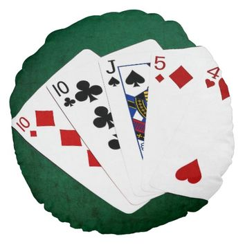 Poker Hands - One Pair - Ten Round Pillow