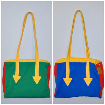 Vintage Colorful Shoulder Bag Tote Bag Primary Colors Color Block Red Yellow Green and Blue with Arrow Design Retro Mod Canvas Bag