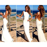 Prom Dress Sexy Backless Chiffon Spaghetti Strap One Piece Dress [4966237956]