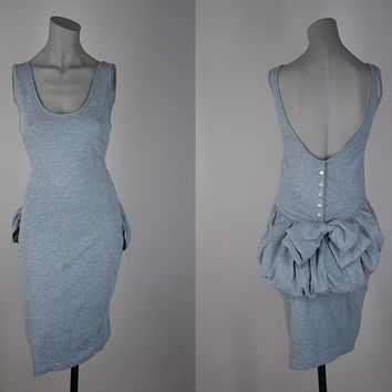 SALE Vintage 1980s Dress / 80s Heather Gray Cotton Low Back Bustle Bodycon Tank Dress S