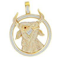 Bull 18k Yellow Gold Diamonds Pendant | World's Best