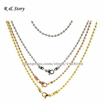 Gold Tone,Silver Tone and Rose Gold Tone filled Ball Chain Necklace 30 inch with Lobster Clasp LFH_016