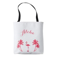 Aloha tropical flamingo with pink palm trees tote