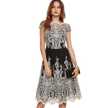 Black Champagne Contrast Fit and Flare Embroidered Cap Sleeve Knee Length Elegant Dress