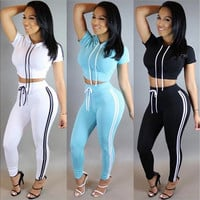 2016 New Women Tracksuit Cotton Sport Suit Hoodies Top and High Waist Skinny Jogger Pants [9305973639]