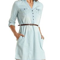 Belted Chambray Shirt Dress by Charlotte Russe - Lt Blue Denim