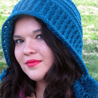 Women's Bonnet Hat, Crochet Earflap Hat, Bonnet, Pom Pom Hood, Non Pointy Women's Hood, Blue Hood, Winter Fashion
