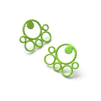 neon green bright stud earrings, simple modern circle post earrings, minimalist powdercoated earrings, hypoallergenic studs, SALE 50% OFF