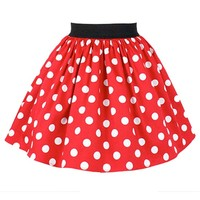 Women's Pleated Polka Dots Skirt by Hemet (Red)