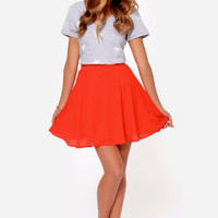 Goodnight Kiss Coral Red Skirt