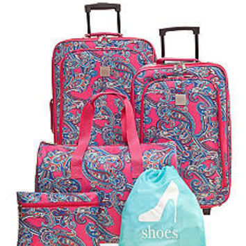 New Directions® 5-Piece Luggage Set - Pink Paisley - Belk.co