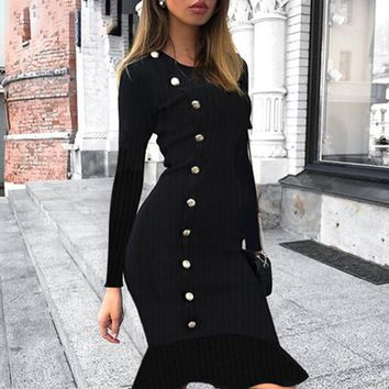 Black buttons knitted women dress Long sleeve a-line ruffled bodycon winter dress Elegant o-neck ladies mermaid dresses
