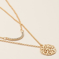 Gold Pave and Medallion Necklaces, 2-Pack - World Market