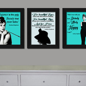 Set of three digital download Audrey Hepburn Living Room Bedroom Hallway Wall Art Decor Breakfast at Tiffany's Print Graphic Art Home Decor