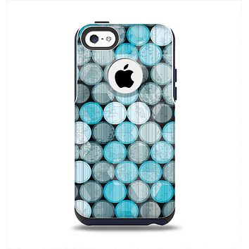 The Vintage Scratched Blue & Graytone Polka Apple iPhone 5c Otterbox Commuter Case Skin Set
