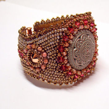 Bead Embroidery Bracelet OOAK Seed bead bracelet Antique metal button Bronze Pink Rosegold Swarovski