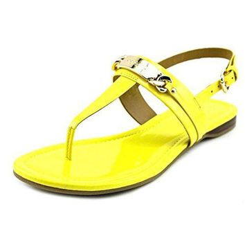 DCCKG2C Coach Women's Caterine Patent T Strap Sandals Yellow (7)
