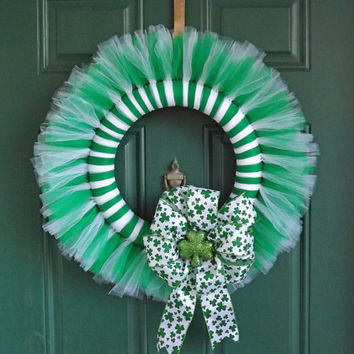 St Patricks Day Green and White Tulle Wreath