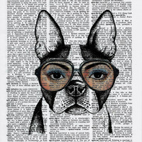 French Bulldog Art Print,Dictionary Art Print,Dictionary Paper,Hipster Art Bulldog Print Geeky Art Nerdy Art Nerd Art Poster Big Eye Funny