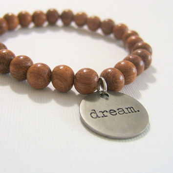 "Brown Wooden Bead Bracelet ~ 8 mm Beads ~ 3/4"" Antiqued Silver Metal Stamped Tag ~ Dream Happy Lucky Hope Life Brave ~Stretch, custom sizing"