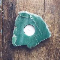 Green Quartz Candle Holder