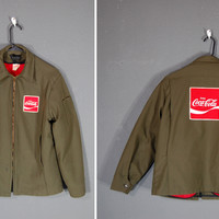 Vintage Coca Cola Green Coat / Olive Green / Red Lining / Uniform / Size Large-Regular
