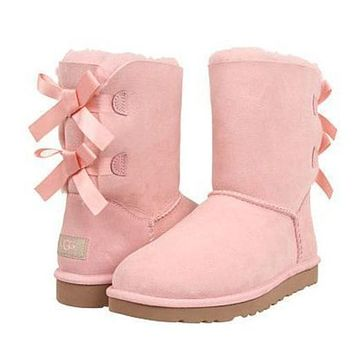 UGG Fashion Women Bow Flats Leather Half Boots Shoes