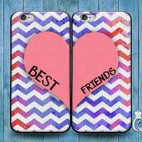 iPhone 4 4s 5 5s 5c 6 6s plus + iPod Touch 4th 5th 6th Generation Cute Best Friends Pink Heart Purple Chevron Pattern Custom Cover Bff Case