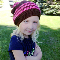ON SALE - Brown & Pink Crocheted Slouch Hat