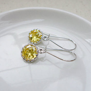 Honey lemon cubic zirconia earrings, Yellow citrine kidney earrings, Bridesmaid earrings, Simple everyday earrings