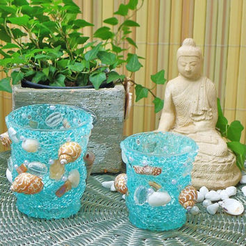 Tealight Holder turquoise Home Decor Beach Decoration 3,54 x 3,14 inches