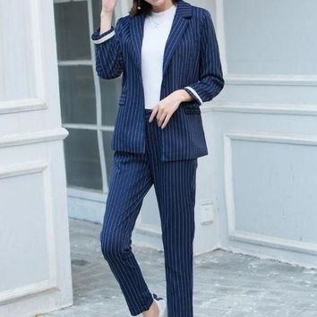 Rugod Elegant Business Suits Women Striped Blazer And Long Pants Suits Feminino Ol Slim Runway Trousers Suits