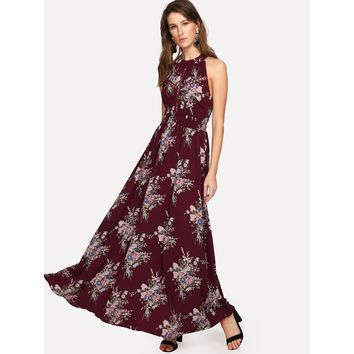 Multicolor Halter Neck Sleeveless Floral Print Maxi Dress