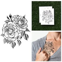 Tattify Traditional Flower Temporary Tattoo - Twin Rose (Set of 2)
