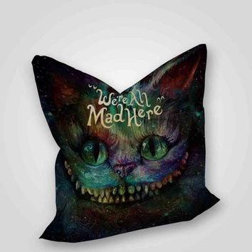 cheshire cat alice in wonderland we're all made here Galaxy, pillow case, pillow cover, cute and awesome pillow covers