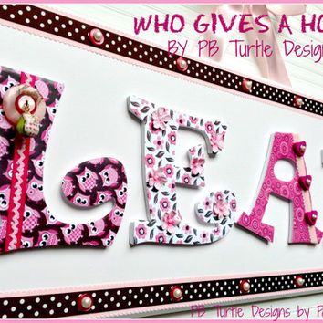Custom Personalized Name Plaque,  Owl Theme Sign, Baby Name, Nursery Decor, Kids Room Decor, Kids Room,  Nursery Art, Owls, Pink and Brown