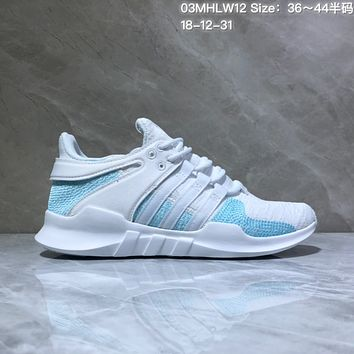 hcxx A552 Adidas EQT Cushion ADV Mesh Knit Fashion Running Shoes White Blue