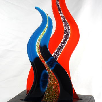 Fused Glass Sculpture with Wenge Wood Base