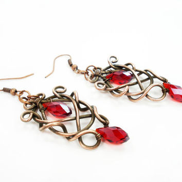 Red earrings, wire wrap, elegant copper jewelry, chandelier earrings, red jewelry, unique jewellery, modern, special earrings, ooak