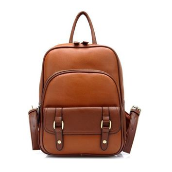 Casual Women's Vintage Brown Leather Backpack Fashion Street Day Travel Bag