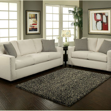 2 Pc Trivia Ivory Fabric Upholstered Sofa And Love Seat Set With