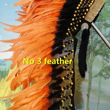 Orange Indian feather Headdress chief indian warbonnet halloween costume supply