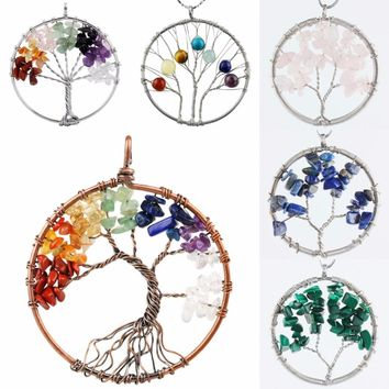 SUNYIK 7 Chakra Stone Chips Beads Tumbled Stone Wire Wrap Tree Of Life Healing Chakra Pendant (Free Chain)
