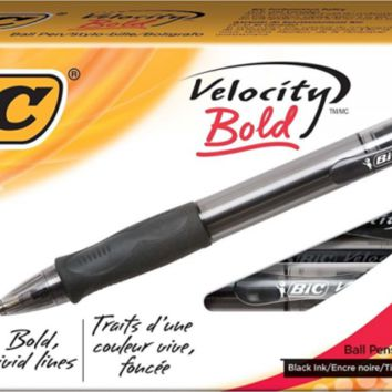 BIC Velocity Bold Retractable Ball Pen, Bold Point (1.6mm), Black, 12-Count