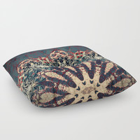 Teal Beige Textured Half Mandala Floor Pillow by Sheila Wenzel