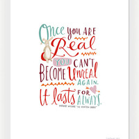 """Design Mom Collection: """"The Velveteen Rabbit"""" Inspirational Quote, Hand-Lettered Print, 5"""" x 7"""""""