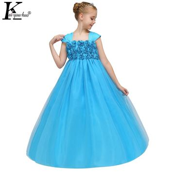 KEAIYOUHUO Wedding Dress 2018 New Year Children Summer Performance Girls Christmas Dress Party Flower Dresses For Girls Clothes