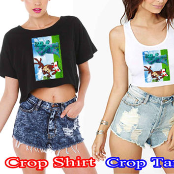 taz manian and monster inc c48c1177-5104-41b3-8972-15f8e1c28828 For Crop Shirt and Crop Tank Sexy Shirt Women S, M, L, XL, 2XL*02*